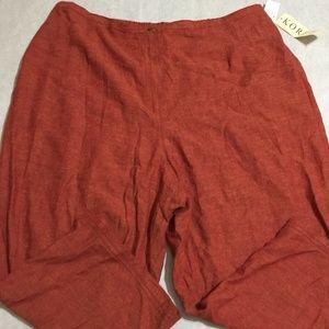 KORET Orange Zip Stretch Pants 26W NWT